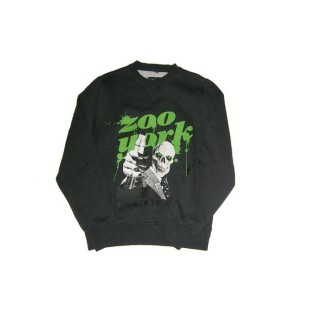 FELPA GIROCOLLO ZOO YORK SWEATSHIRT CREWNECK SKULL MAGNUM DarkGrey/Green stg