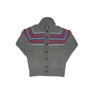 MAGLIONE FRANKLIN  MARSHALL SWEATER WOOL Grey/Blue/Red stg
