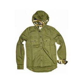 CAMICIA ECKO SHIRT L/S HOODED INSIGNIA Forest Green/Camo stg