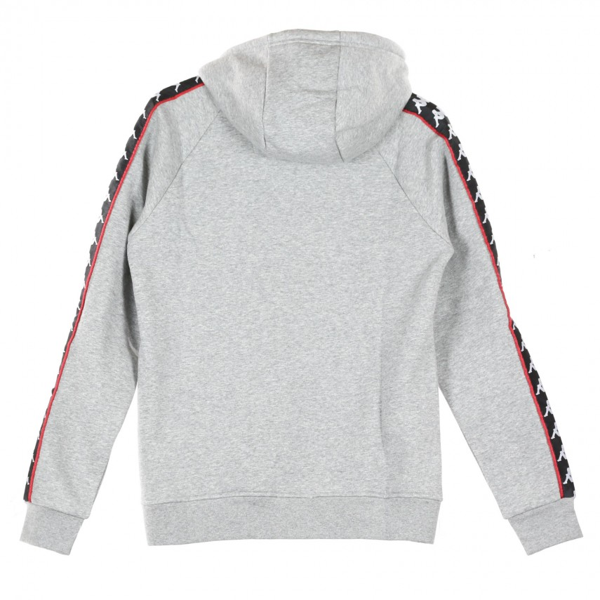 4446d203 FELPA CAPPUCCIO BANDA HURTADO GREY MD MELANGE/BLACK/RED