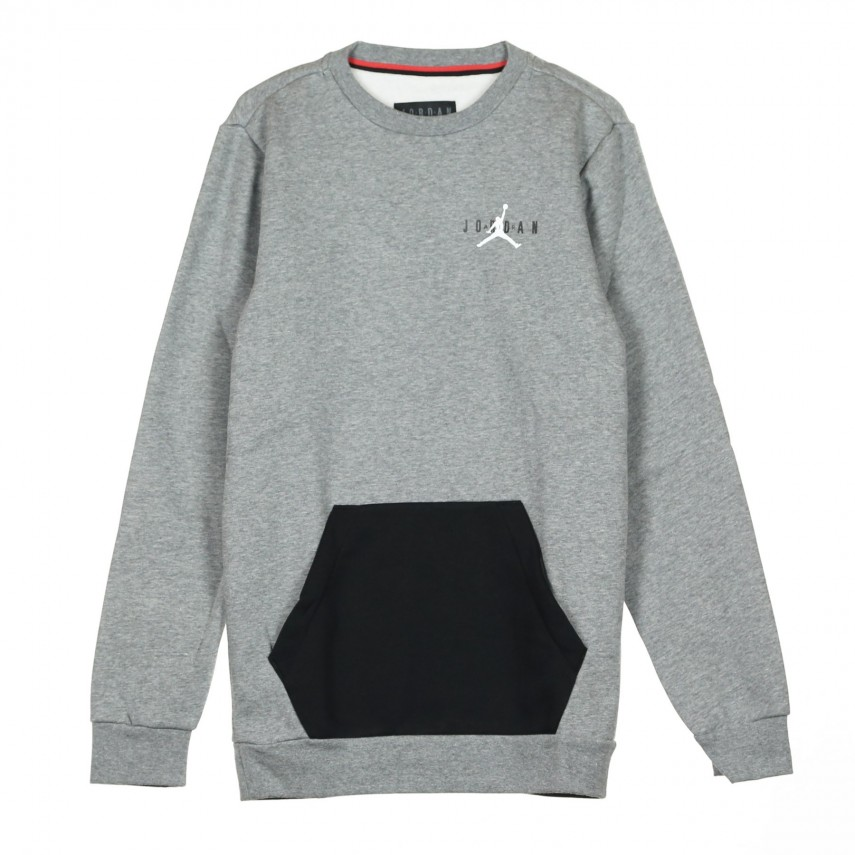 new concept e719c fd267 JUMPMAN AIR FLEECE CREW CARBON HEATHER BLACK WHITE   Atipicishop.com