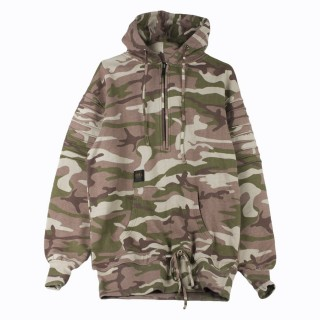 FELPA GIROCOLLO PLEATED LOOSE FIT HOODY Array