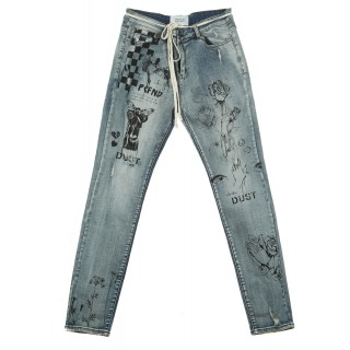 JEANS PRINTED HAND ART Array