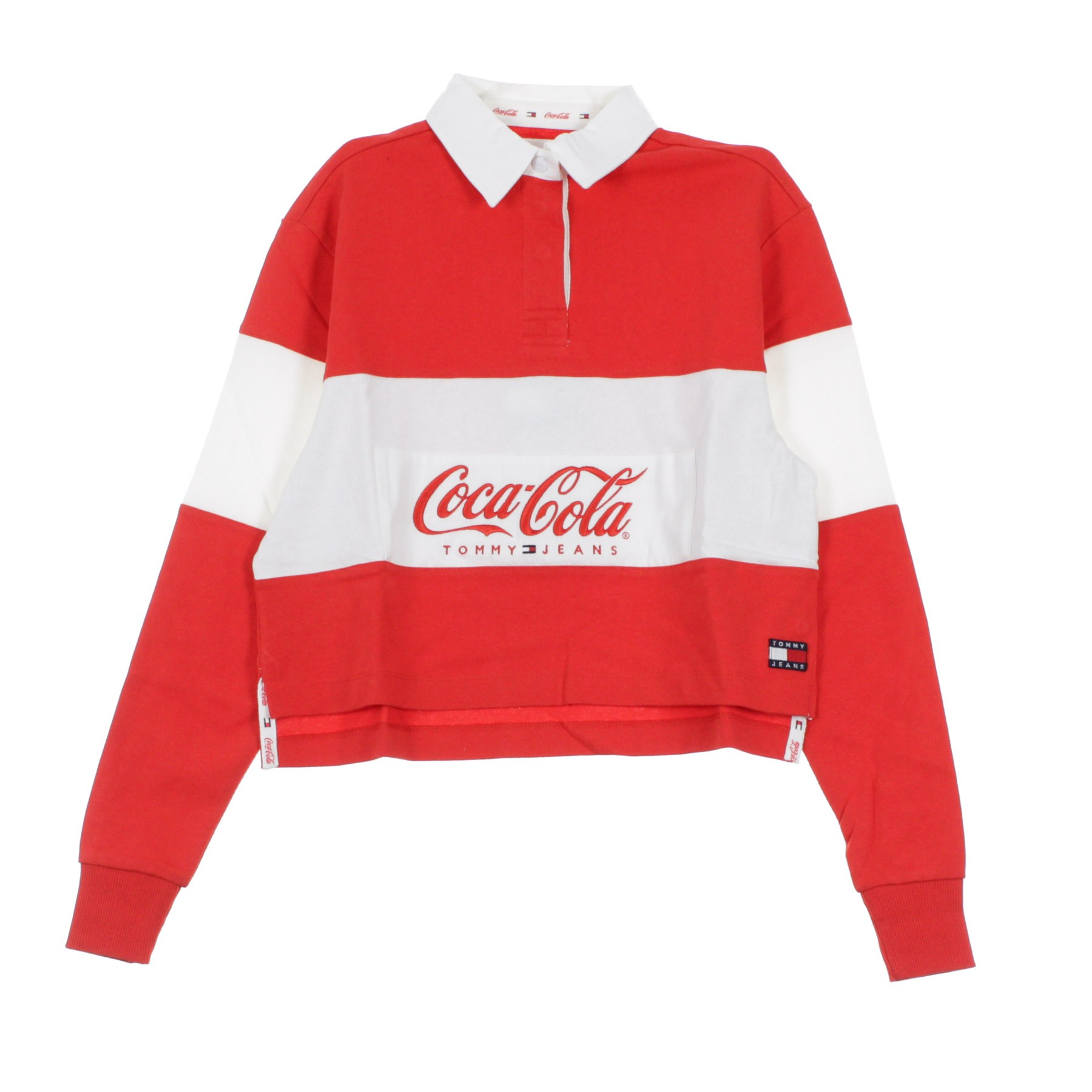 FELPA COLLEGE TOMMY X COCA COLA CROP RUGBY REDBRIGHT WHITE