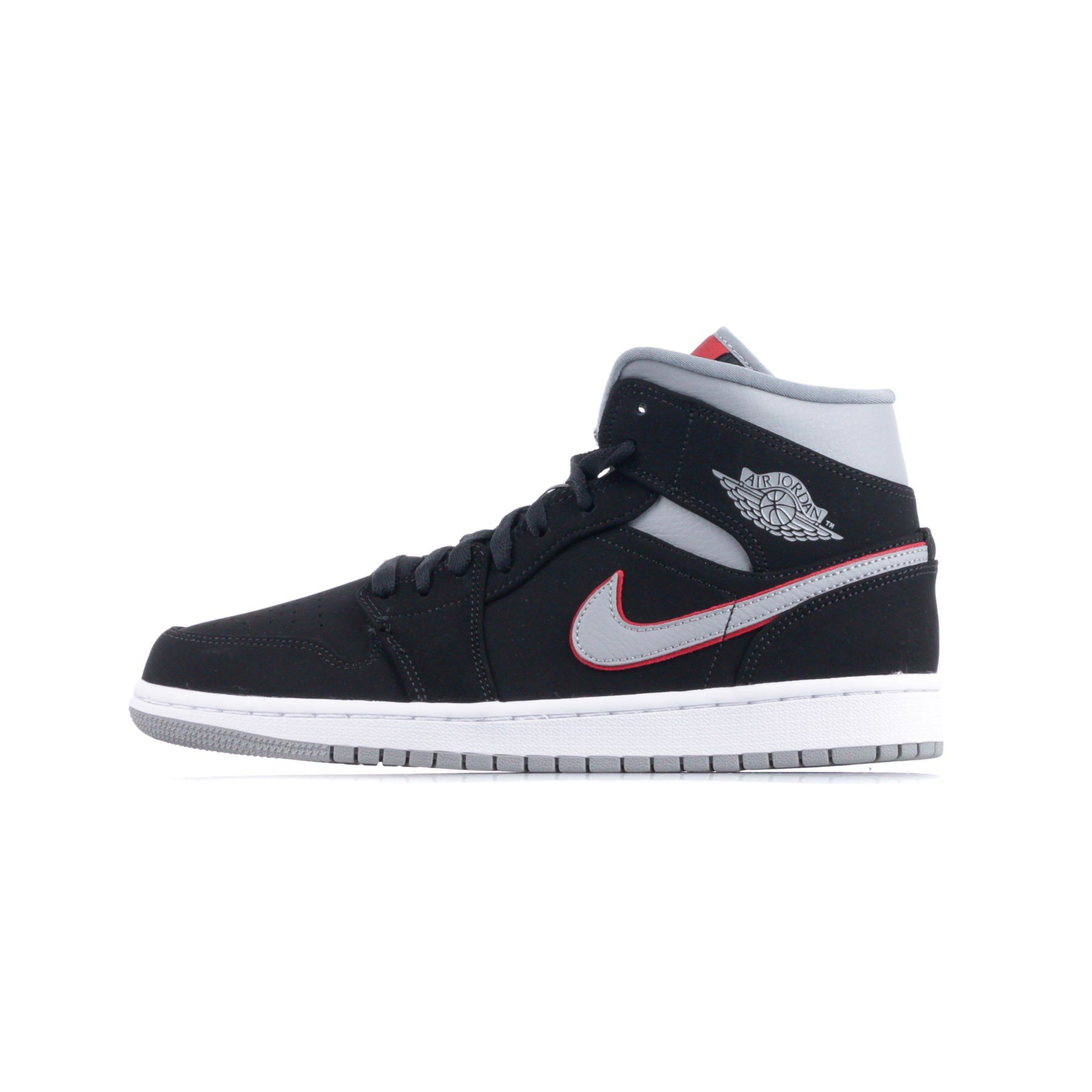 finest selection 4ca68 784a0 SCARPA ALTA AIR JORDAN 1 MID BLACK PARTICLE GREY WHITE GYM RED