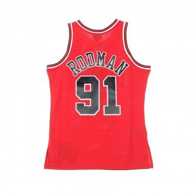CANOTTA BASKET NBA SWINGMAN JERSEY DENNIS RODMAN NO91 1997-98 CHIBUL ROAD 42.5
